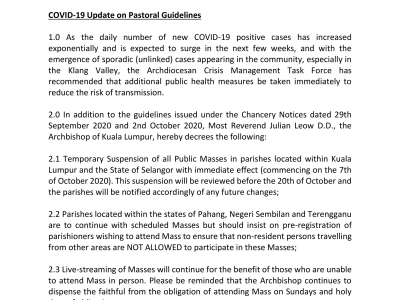 Chancery Notice: COVID-19 Update on Pastoral Guidelines