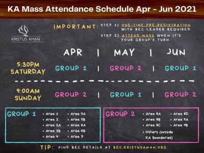 KA Mass Attendance Schedule, April - June 2021